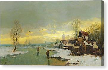 People Walking On A Frozen River  Canvas Print by Johann II Jungblut