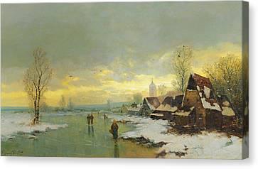 White River Scene Canvas Print - People Walking On A Frozen River  by Johann II Jungblut