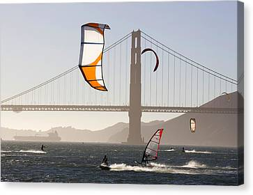 People Wind Surfing And Kitebording Canvas Print by Skip Brown
