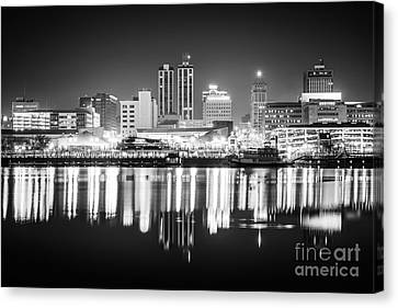 Peoria Illinois At Night Black And White Photo Canvas Print by Paul Velgos