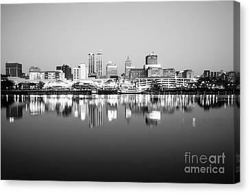 Peoria Illinois Skyline Black And White Photo Canvas Print by Paul Velgos