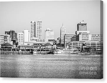 Peoria Skyline Black And White Picture Canvas Print