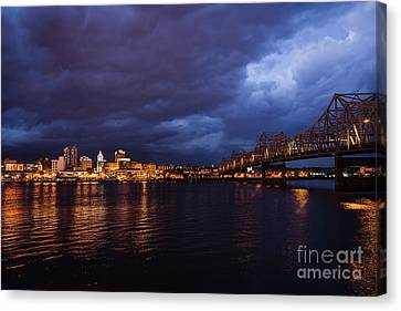Peoria Winter 5pm Blues Canvas Print by Andrea Silies