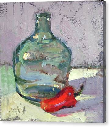 Canvas Print - Pepper And Bottle by Donna Shortt