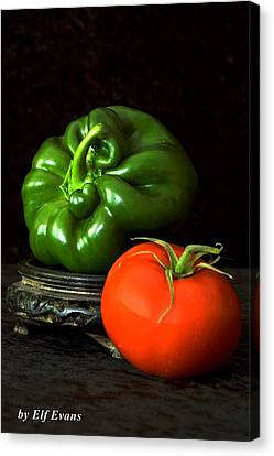 Canvas Print featuring the photograph Pepper And Tomato by Elf Evans