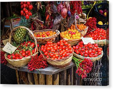 Peppers And Tomatoes Canvas Print by Inge Johnsson