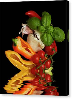 Canvas Print featuring the photograph Peppers Basil Tomatoes Garlic by David French