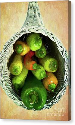 Canvas Print featuring the painting Peppers In A Horn Of Plenty Basket Ap by Dan Carmichael