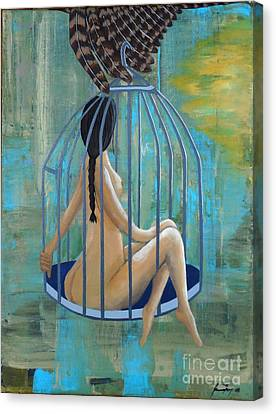 Perceptions Of The Lady In The Birdcage Canvas Print