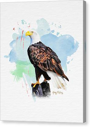 Canvas Print featuring the painting Perched Eagle by Greg Collins