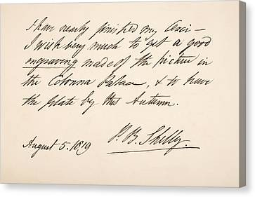 Percy Bysshe Shelley, 1792 Canvas Print by Vintage Design Pics