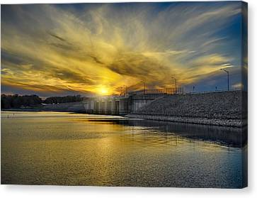 Percy Priest Dam At Sunset Canvas Print by Steven Michael