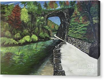 Perfect Fall Day At Natural Bridge Virginia Canvas Print by Katie Adkins