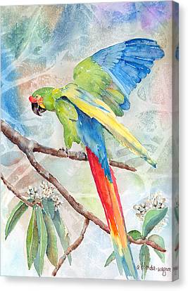 Parrots Canvas Print - Perfect Landing by Arline Wagner