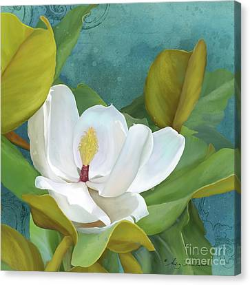 Canvas Print featuring the painting Perfection - Magnolia Blossom Floral by Audrey Jeanne Roberts