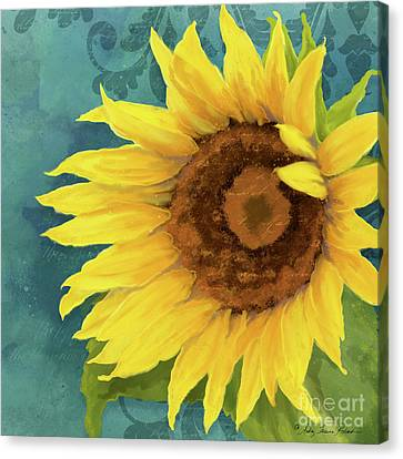 Canvas Print featuring the painting Perfection - Russian Mammoth Sunflower by Audrey Jeanne Roberts