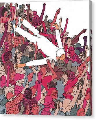 Concert Images Canvas Print - Performer Crowd Surfing by Josh Cochran