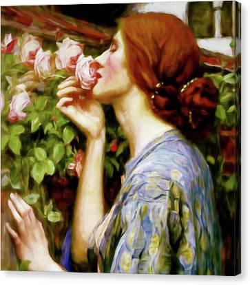 Perfumed Soul Of A Rose Portrait Closeup Canvas Print by Georgiana Romanovna