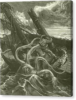 Stormy Canvas Print - Perilous Adventures At Sea by French School