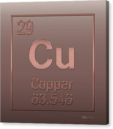 Canvas Print featuring the digital art Periodic Table Of Elements - Copper - Cu - Copper On Copper by Serge Averbukh