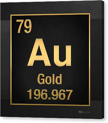 Canvas Print featuring the digital art Periodic Table Of Elements - Gold - Au - Gold On Black by Serge Averbukh