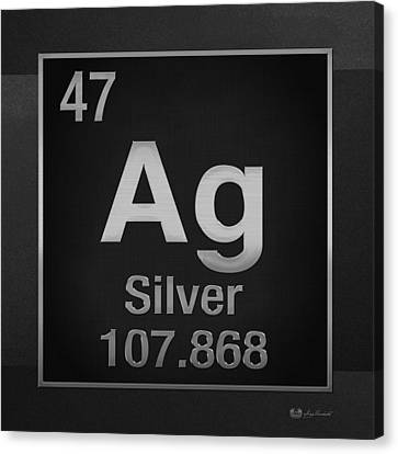 Periodic Table Of Elements - Silver - Ag - Silver On Black Canvas Print by Serge Averbukh