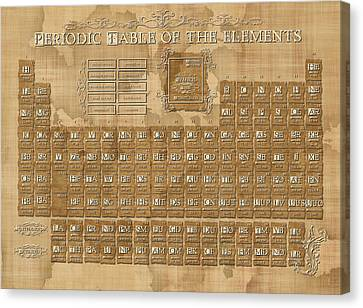 Periodic Table Canvas Print - Periodic Table Of The Elements Vintage 5 by Bekim Art