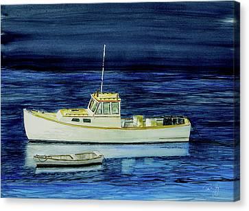 Perkins Cove Lobster Boat And Skiff Canvas Print by Paul Gaj