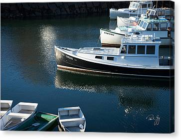 Perkins Cove Lobster Boats One Canvas Print by Paul Gaj