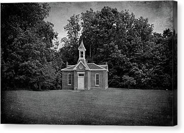 Evansville Canvas Print - Perry Township School No. 3 B W by Sandy Keeton