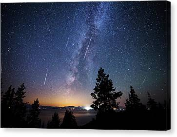 Canvas Print featuring the photograph Perseid Meteor Shower From Tahoe by Brad Scott