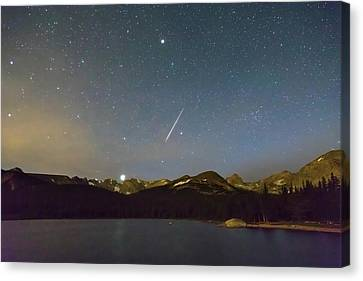 Canvas Print featuring the photograph Perseid Meteor Shower Indian Peaks by James BO Insogna