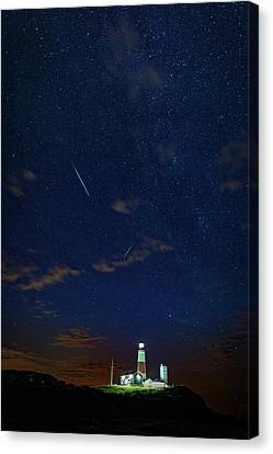 Perseids Over Montauk Point Canvas Print by Rick Berk