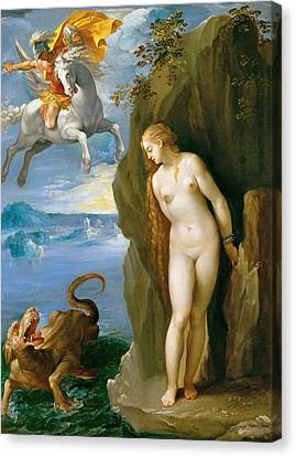 Perseus And Andromeda Canvas Print by Giuseppe Cesari