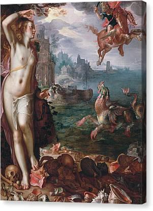 Perseus Releases Andromeda Canvas Print by Joachim Wtewael