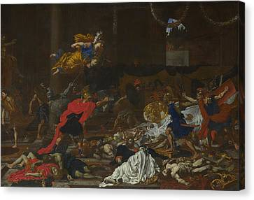 Perseus Turning The Followers Of Phineus Into Stone Canvas Print by French or Flemish