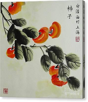 Persimmon Twig Canvas Print by Birgit Moldenhauer