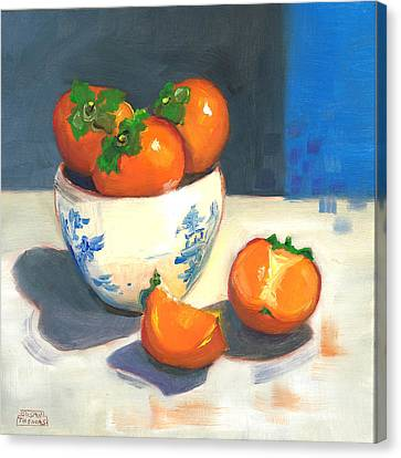 Canvas Print featuring the painting Persimmons by Susan Thomas
