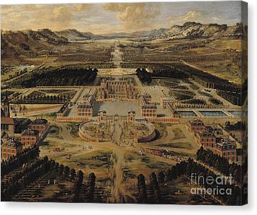 Perspective View Of The Chateau Gardens And Park Of Versailles Canvas Print