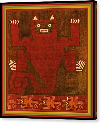 Peruvian Inca Demon Spirit Canvas Print by Vagabond Folk Art - Virginia Vivier