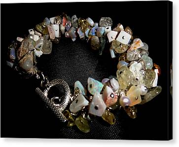 Sterling Silver Bracelet Canvas Print - peruvian opal nugget, aquamarine, cultured pearl Bracelet by Karen Matthews