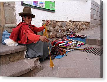 Canvas Print featuring the photograph Peruvian Weaver by Aidan Moran