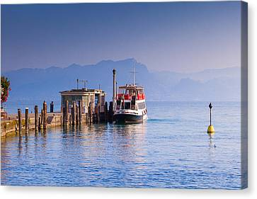 Blue Morning At Peschiera Di Garda Canvas Print by Natalia Macheda