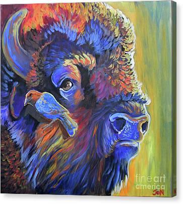 Pesky Cowbird Canvas Print by Jenn Cunningham