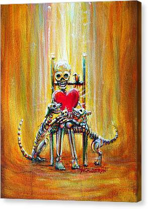 Canvas Print featuring the painting Pet Love by Heather Calderon