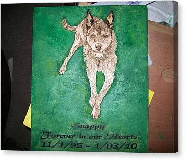 Pet Portrait Wood Burn Wall Plaque U Provide Picture By Pigatopia Canvas Print by Shannon Ivins