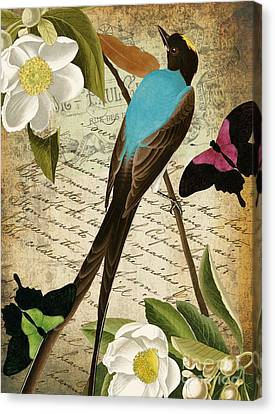 Tropical Bird Postcards Canvas Print - Petals And Wings II by Mindy Sommers