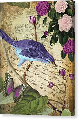 Tropical Bird Postcards Canvas Print - Petals And Wings Iv by Mindy Sommers