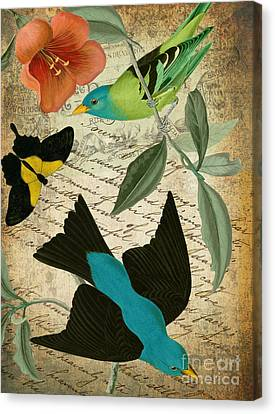 Tropical Bird Postcards Canvas Print - Petals And Wings V by Mindy Sommers