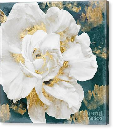 Petals Impasto White And Gold Canvas Print by Mindy Sommers